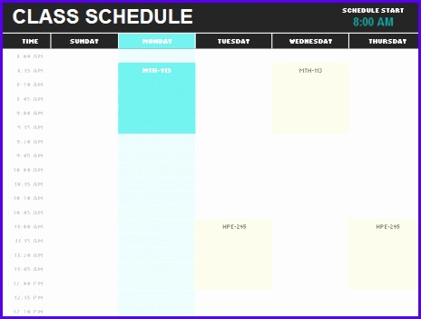 student schedule template