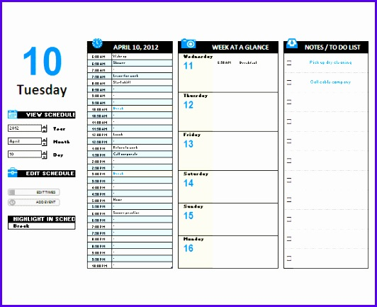 Excel Hourly Day Planner Template Free Download 532433