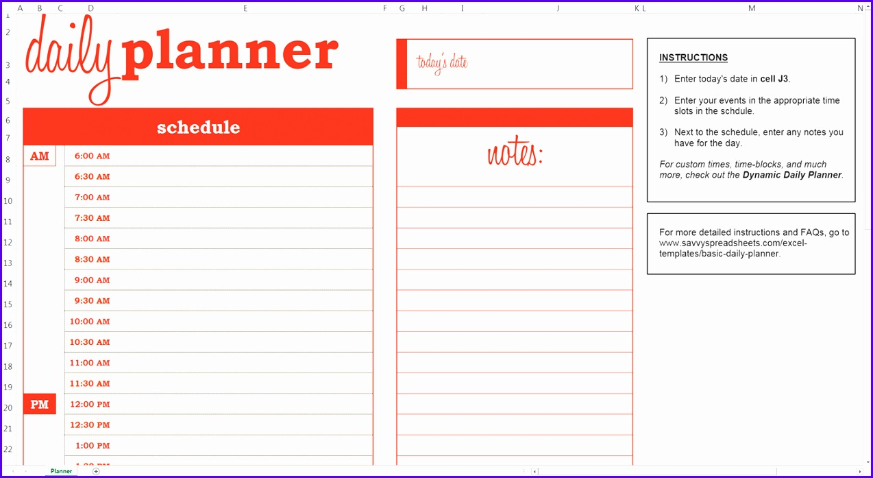 Example Excel Daily Planner Template Ivvei Fresh Daily Calendar Excel 1400758