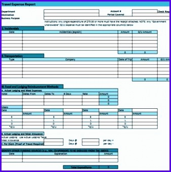 Example Excel forms Templates Laqdd Unique Detailed Travel Expense form 2 372370