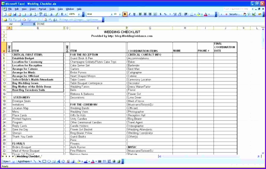 Wedding Guest List Template Pdf And Excel Spreadsheet For Wedding Guest List 931591