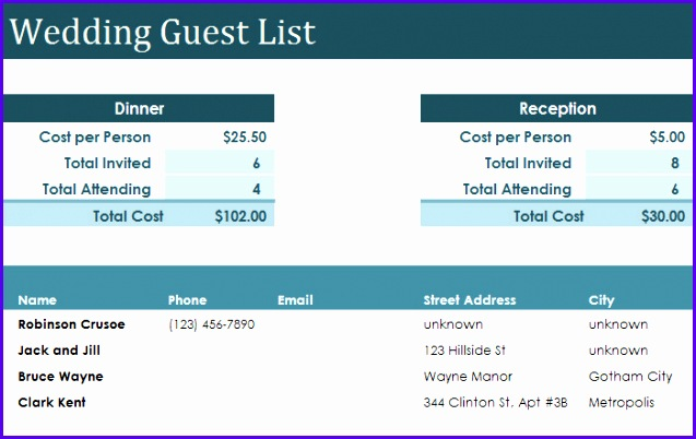 Example Excel Guest List Template Tecyf Fresh Wedding Guest List Template 6 Free Sample Example format 700438