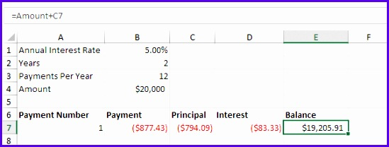 Select the range A7 E7 first payment and drag it down one row Change the balance formula