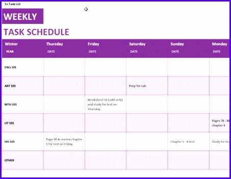 Weekly task schedule 453351