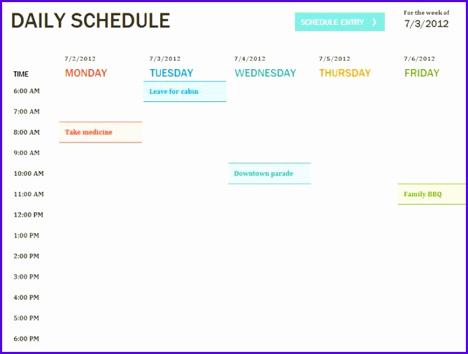 Daily Schedule Template Printable Daily Planner Template 669507