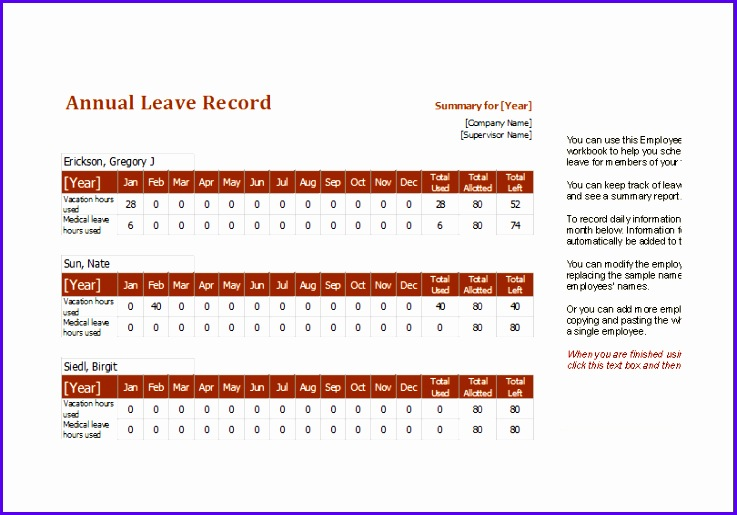 Example Excel Template Sheet Hhswu Fresh Employee Annual Leave Record Spreadsheet Editable Ms Excel 810560