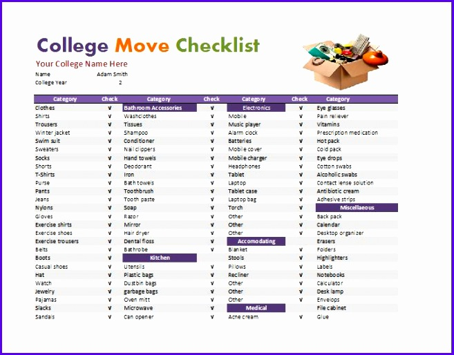 Dorm Room Checklist Template 657514