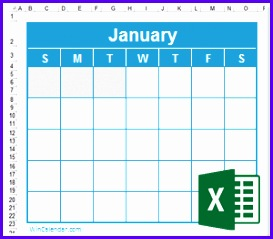 Calendar Excel Blank English