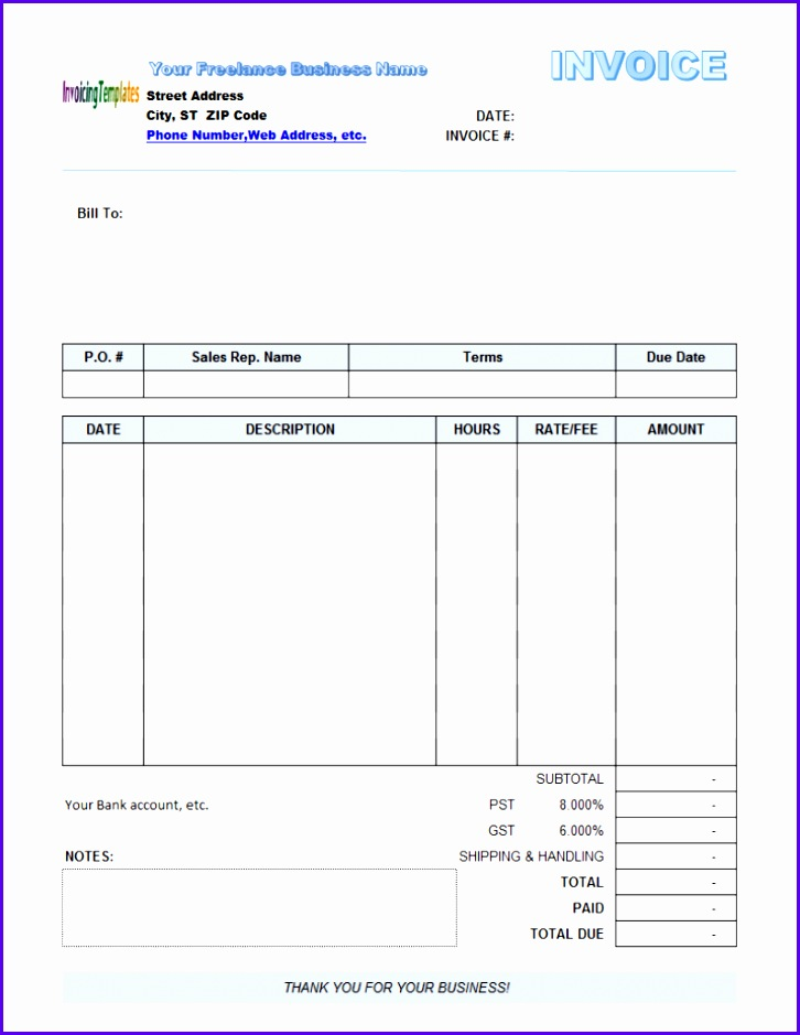 10 Free Invoice Template Uk Excel - Excel Templates ...