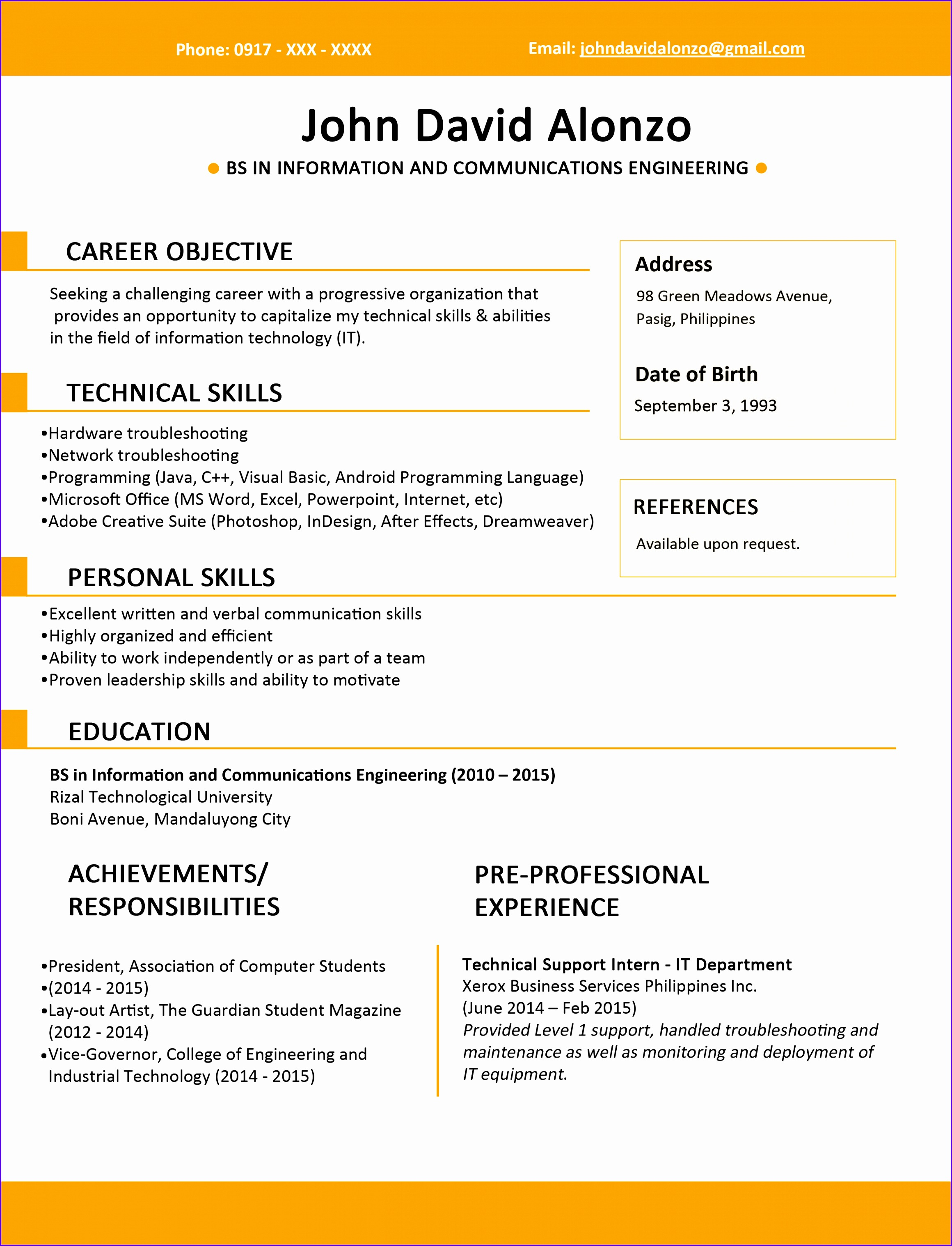Example Fresh Statement Of Account Template Gspxf Fresh Sample Resume format for Fresh Graduates E Page format 25503300