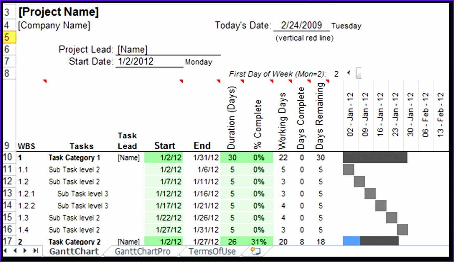 Gantt Chart Excel 2010 Template Free 1456841