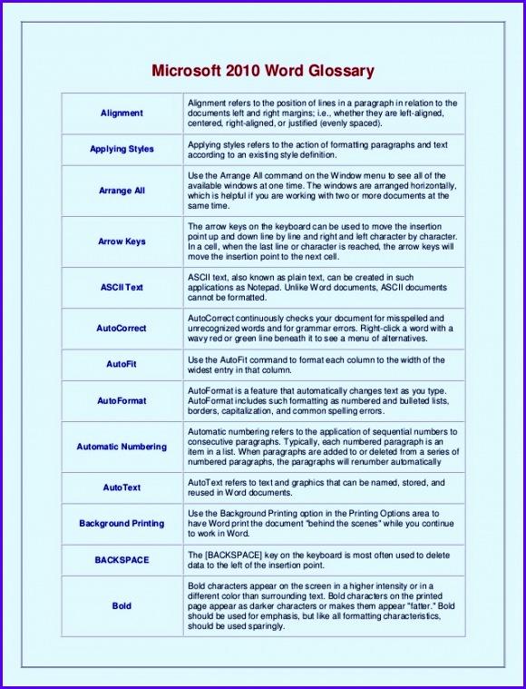 Microsoft 2010 Word Glossary 2 580759