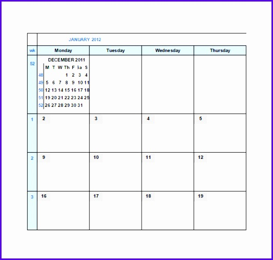 Monthly Calendar Google Spreadsheet Template Free 532506