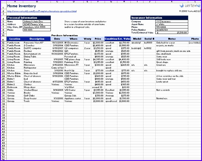 "Home Inventory Spreadsheet "" 666531"
