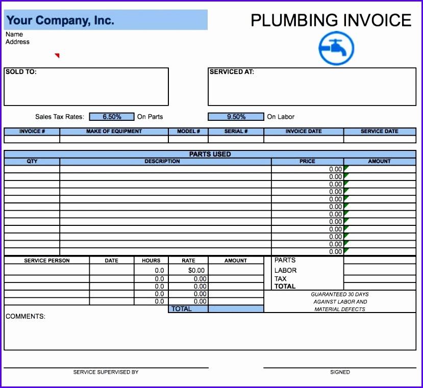 Free Plumbing Invoice Template Excel Pdf Word Doc Sample Plumbing Invoice 829761
