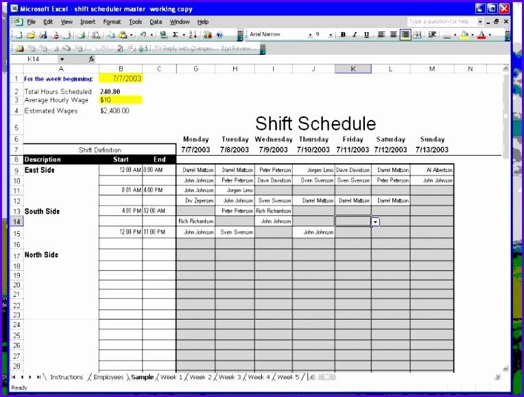 excel schedule 764579