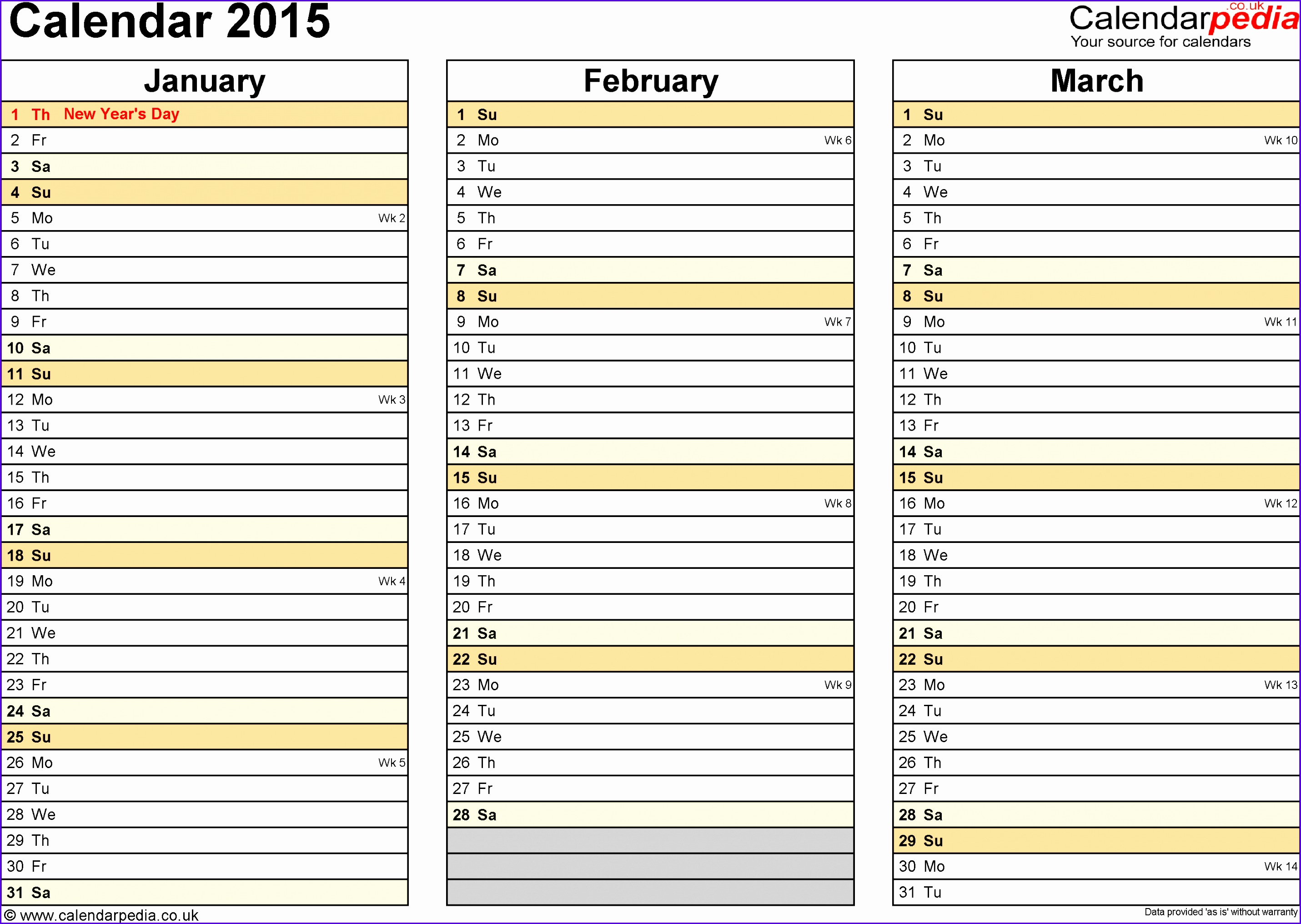 Template 5 Yearly calendar 2015 as Excel template landscape orientation 4 pages 28612032