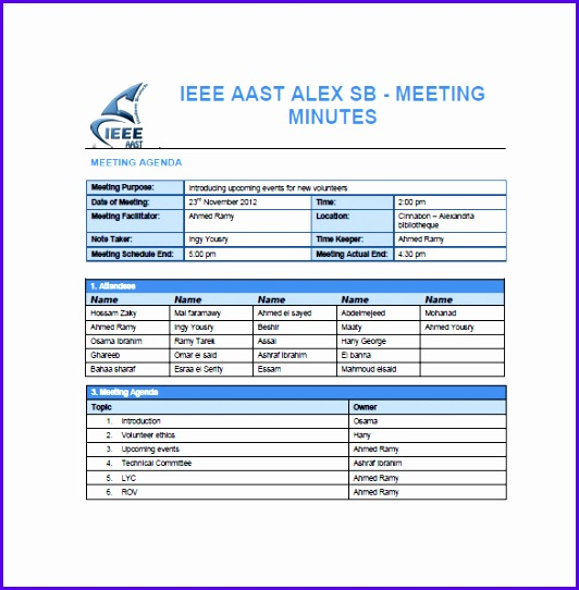 Sample Project Meeting Minutes Template 532542