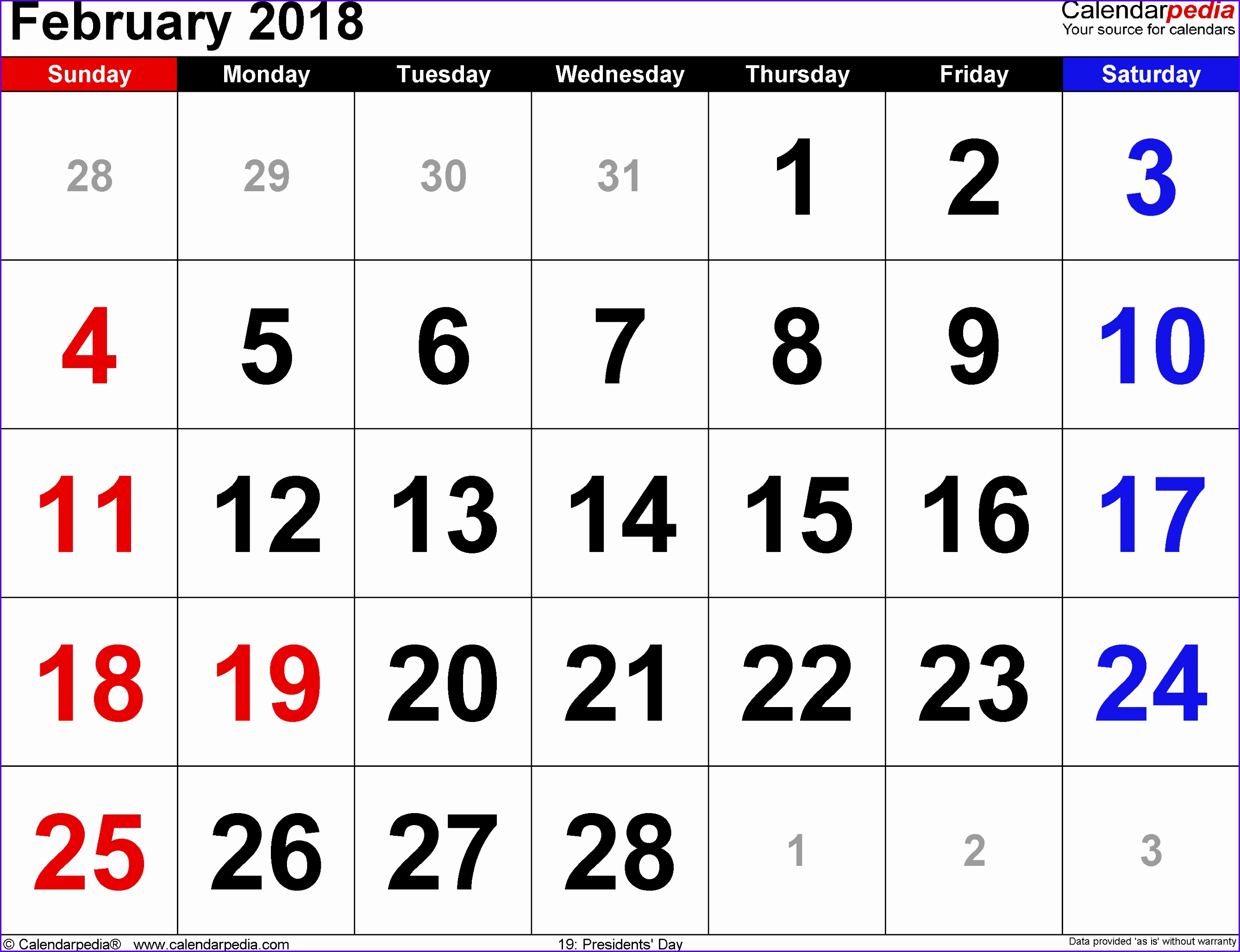 February 2018 Calendars for Word Excel & PDF 26782056