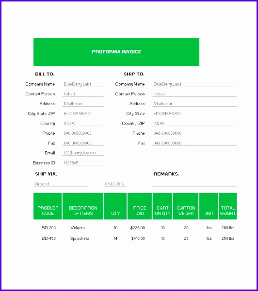 Free Downloadable Proforma Invoice Template 532598
