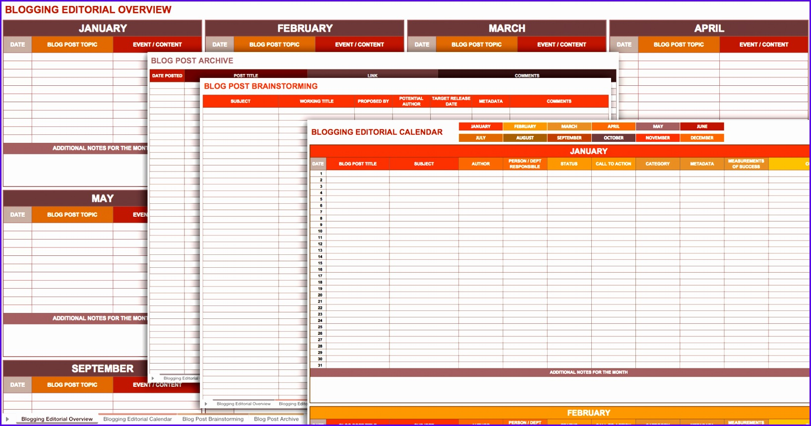 Blogging Editorial Calendar Template 1635859