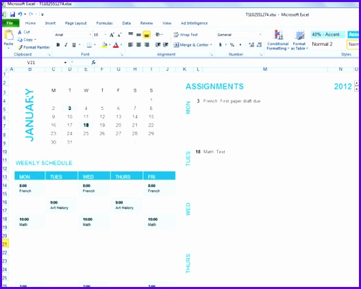 Example School Timetable Template Excel Pfhnl Luxury Student Planning Template for Excel 2007 & 2010 580460