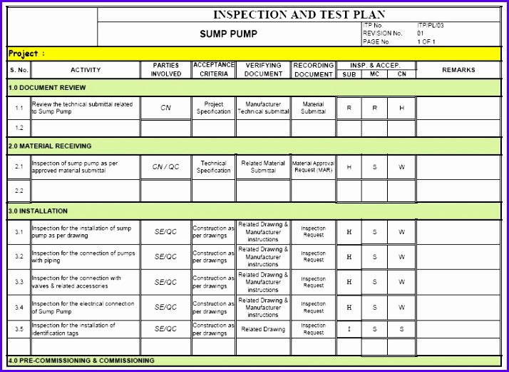 Example Test Plan Excel Template Bskks Best Of Inspection & Test Plan Itp Method Statement 785567