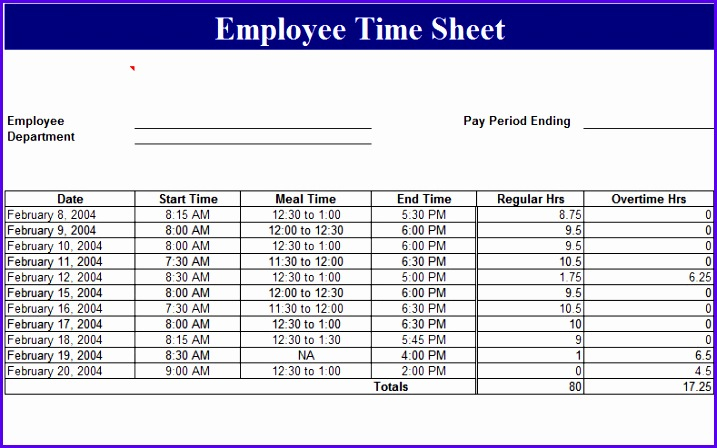 Employee Time Sheet Template 717448