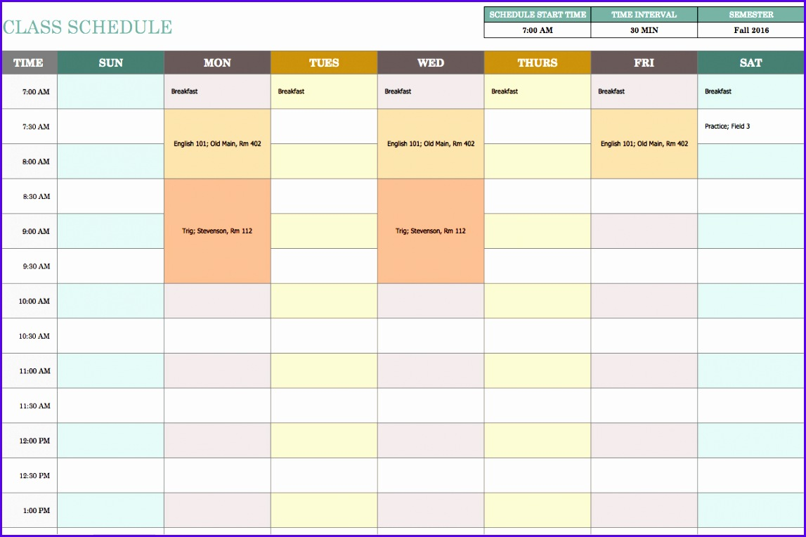 Weekly Class Schedule Template 1147764