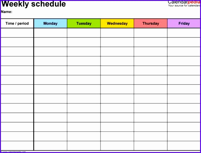 Weekly schedule template for Word version 1 landscape 1 page Monday to Friday 669510