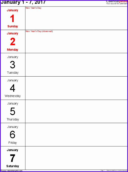 Weekly calendar 2017 template for Excel version 10 portrait 53 pages days 535717