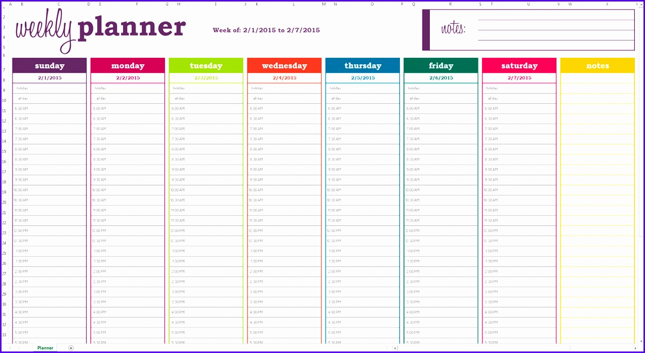 Basic Weekly Planner Excel Template Screen View 1274697