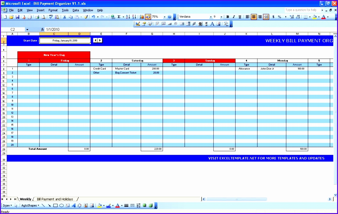 Example Weekly Calendar Excel Template W3cac Lovely Bill Payment Calendar 1280800