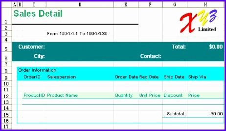 free excel report template sales detail 462267