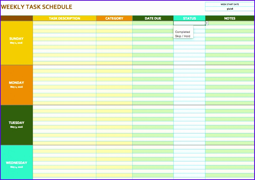 Weekly Task Schedule Template 1055744