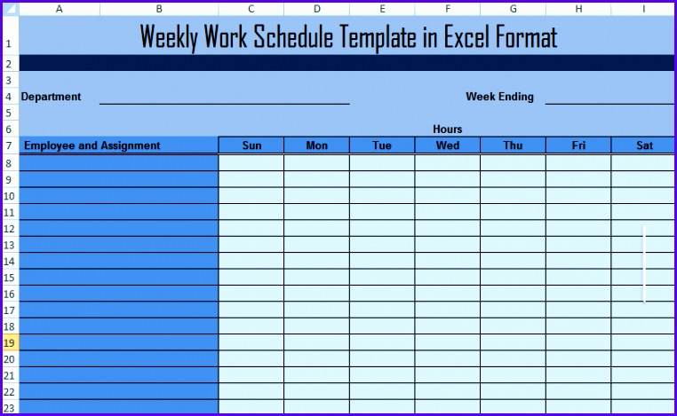 Weekly Work Schedule Template in Excel 762469