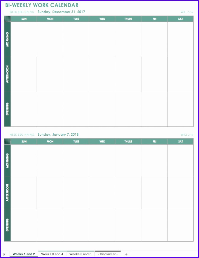 Bi Weekly Work Calendar Template 673869
