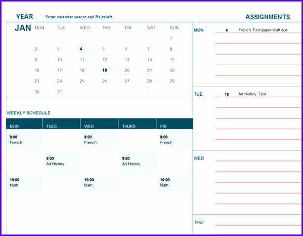 Student calendar Mon 614478