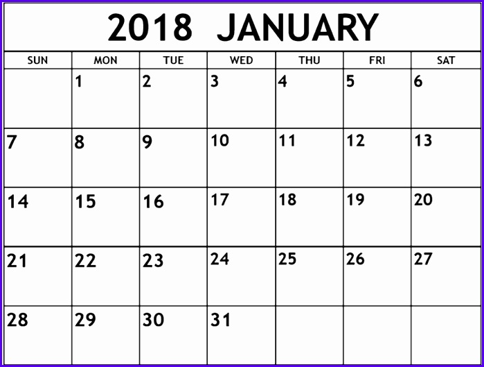 January 2018 Calendar Excel Template 699529