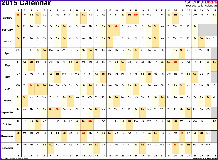 Examples Annual Calendar Template Excel Elit5 Luxury Calendar Template 2015 2015 Calendar Excel 16 984717