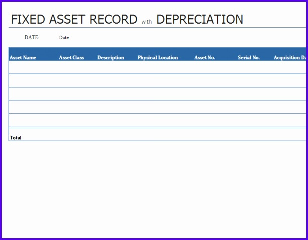 Fixed asset record with depreciation 614478