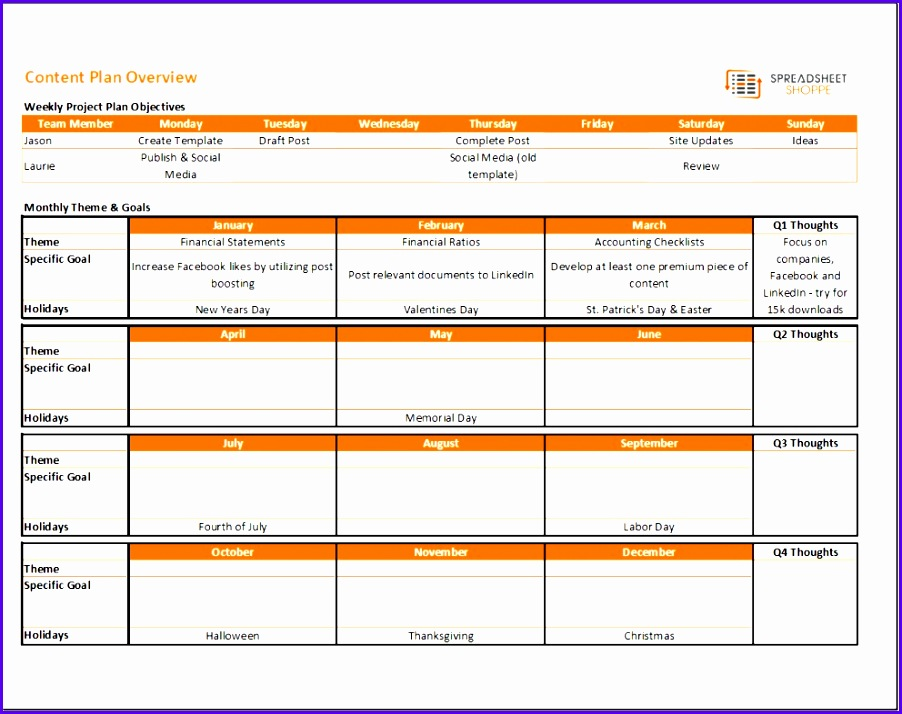 Project Management Templates In Excel Bsegs Awesome Content Calendar and Plan Template Spreadsheetshoppe 902714