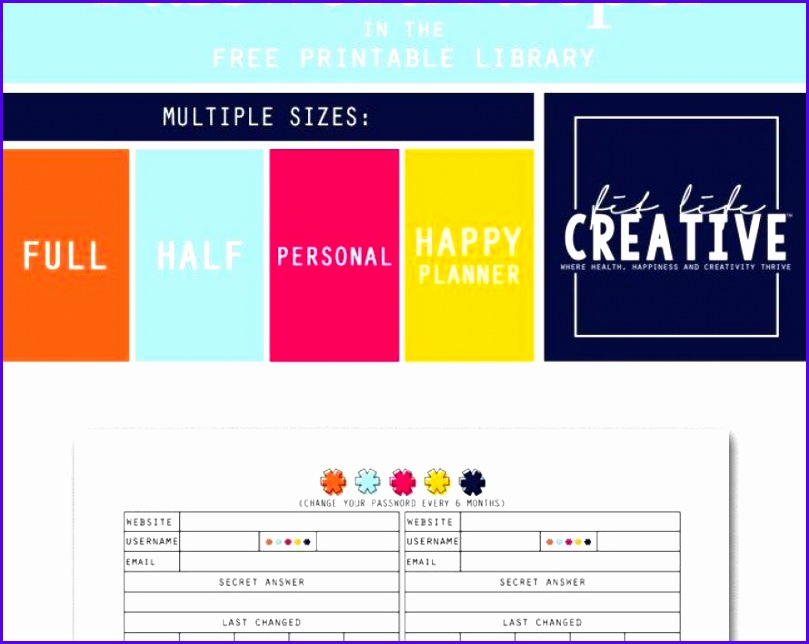templates Password Keeper Awesome Excel Templates Password Organizer Free Printable Password Keeper Planner Insert Available In Multiple Sizes Including 809644