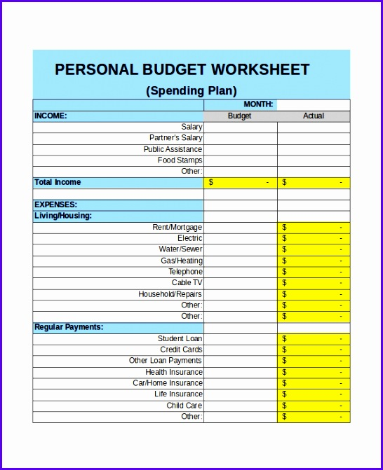 Personal Monthly Bud In e Template Excel Monthly Bud Template How to Get a Fine 546671