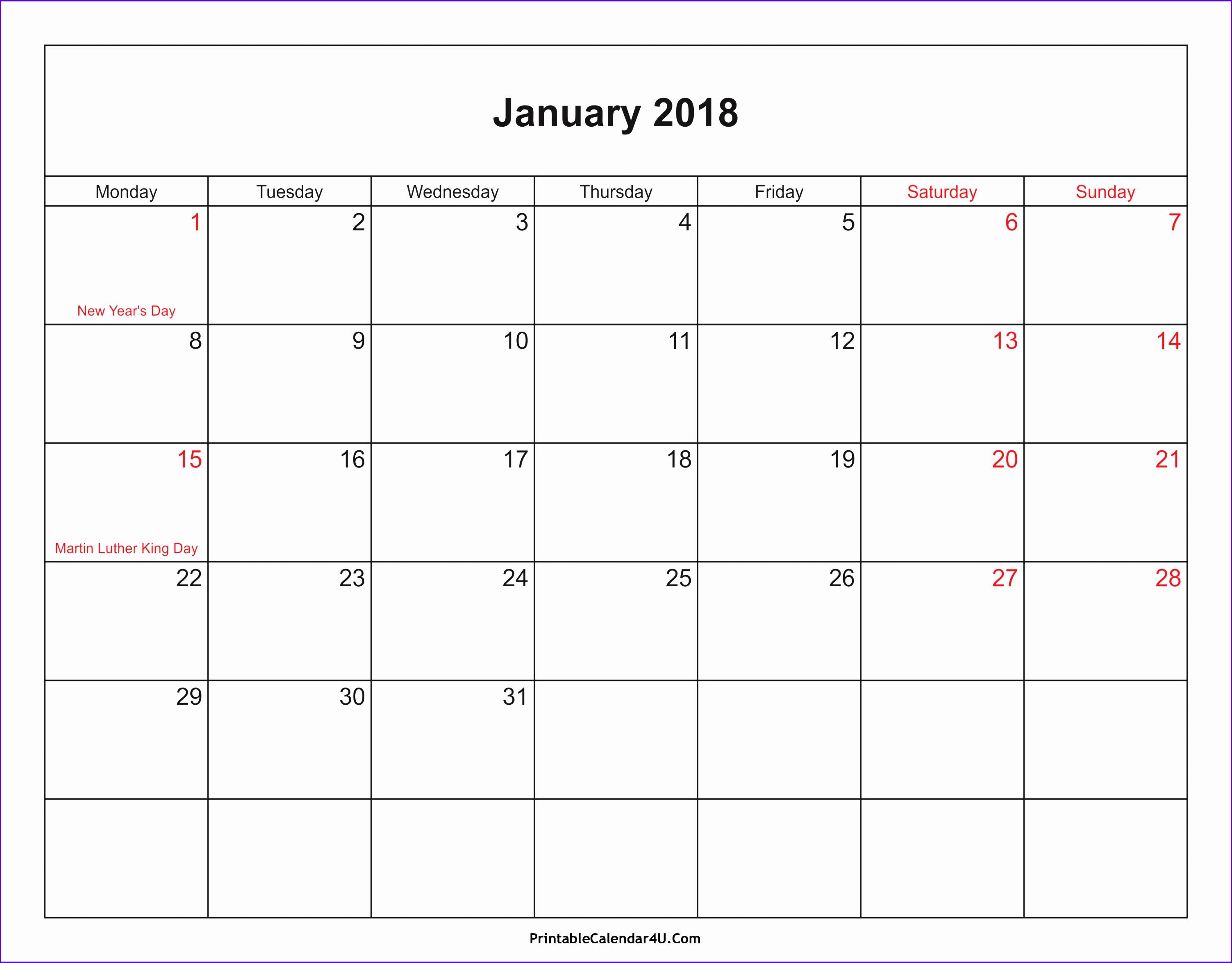 2018 Calendar Templates and