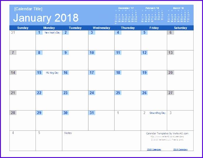2018 calendar excel template 691539
