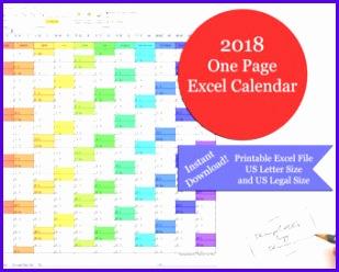 2018 e Page Excel Calendar Printable 2018 Yearly Calendar 2018 Calendar 309248