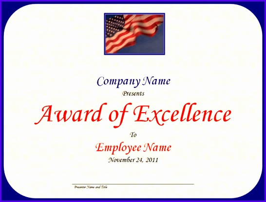 Excellence award with US flag and sky 546414
