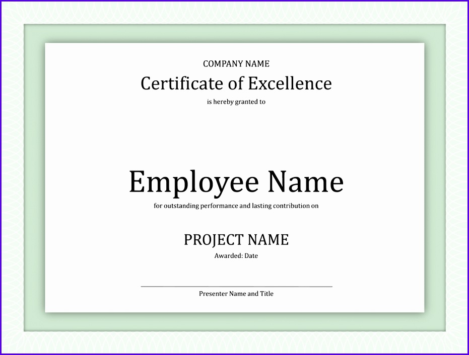 Certificate of excellence for employee 931706