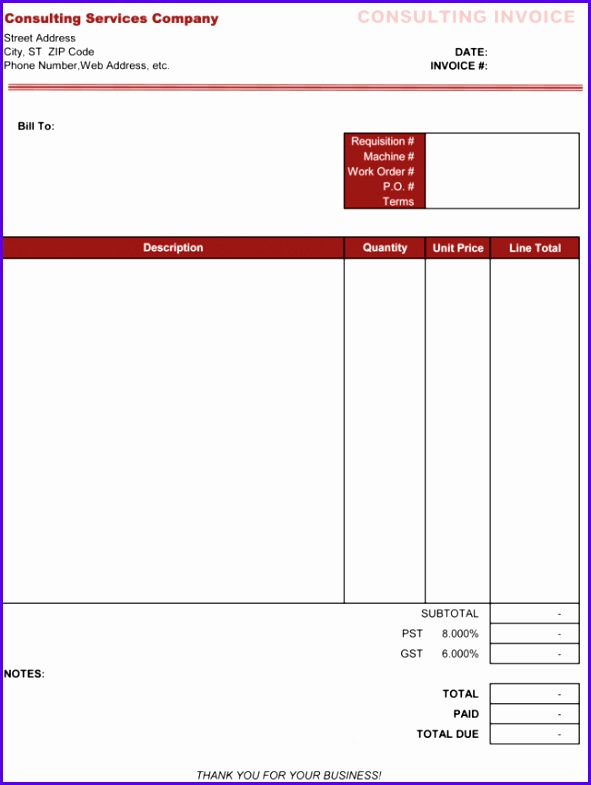 Consulting Invoice Template Excel 591785